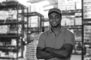 Successful man at warehouse job assignment