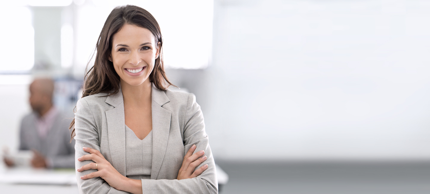 Successful woman at professional office job interview
