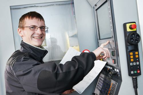 Temporary-to-permanent worker at CNC machine center